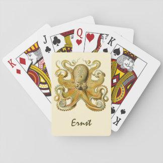 Vintage Kraken, Octopus Gamochonia, Ernst Haeckel Playing Cards