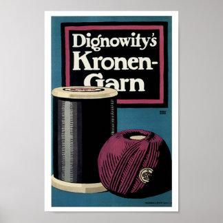 Vintage Kronengard Yarn Ad Poster