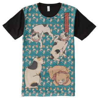 Vintage Kuniyoshi Japanese Cats Pattern All-Over-Print T-Shirt