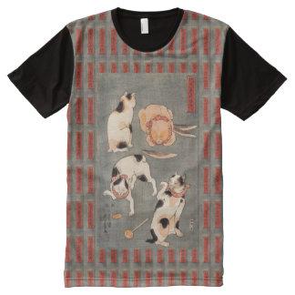 Vintage Kuniyoshi Japanese Cats Poses All-Over-Print T-Shirt