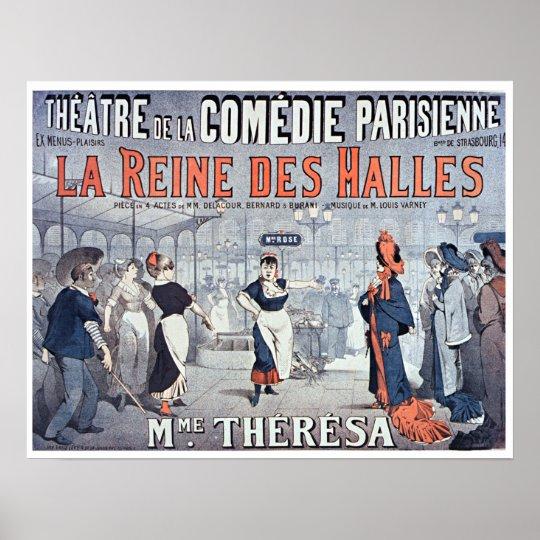 Vintage La Reine des Halles Comedy Theatre Poster