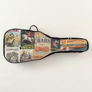 vintage label collage guitar case
