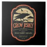 Vintage Label Halloween Crow Tile Trivet