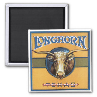Vintage Label Longhorn Steer Texas Fridge Magnet