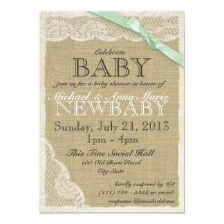 Vintage Lace and Bow Baby Shower Soft Green 5x7 Paper Invitation Card