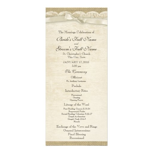 Vintage Lace and Burlap Wedding Program Custom Rack Card