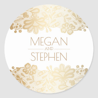 Vintage Lace and Gold and White Wedding Round Sticker