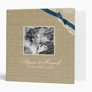 Vintage Lace and Navy Blue Bow Design with Photos 3 Ring Binder