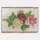 Vintage Lace and Roses Afghan Throw Blanket