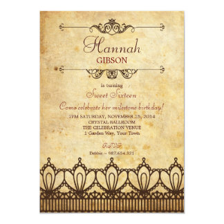 Vintage Lace (Antique Look) Sweet 16 Invitation