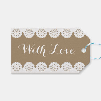 Vintage Lace Brown Wedding Lacy Love Gift Tags