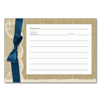 Vintage Lace Burlap and Navy Bow Recipe Cards
