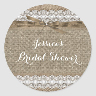 Vintage Lace & Burlap Bridal Shower Sticker