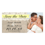 Vintage Lace & Burlap Look Save the Date - Yellow Personalized Photo Card