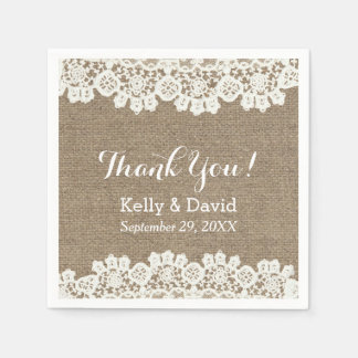 Vintage Lace & Burlap Rustic Wedding Thank You Disposable Napkins