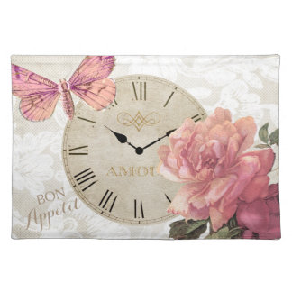 Vintage Lace Butterfly Rose Flower Clock Time Placemat
