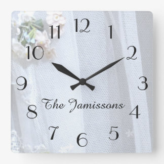Vintage Lace, Clock, Personalized Square Wall Clock