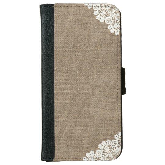 Vintage Lace Corner Burlap iPhone 6 Wallet Case