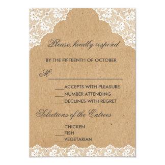Vintage Lace Craft Paper Wedding RSVP Card
