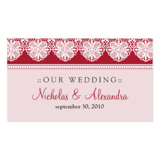 Vintage Lace Cranberry Wedding Website Card Business Card Template