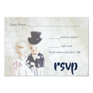 Vintage Lace Dapper Couple RSVP Cards