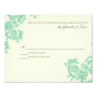 "Vintage Lace | Emerald | RSVP 4.25"" X 5.5"" Invitation Card"