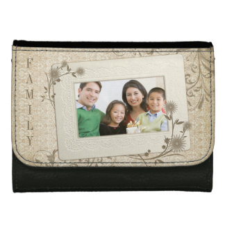 Vintage Lace Floral Family Photo Personalized Wallet For Women