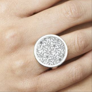 Vintage Lace Floral Flowers Lacy Retro Jewelry Photo Rings