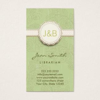 Vintage Lace Floral Librarian Business Card