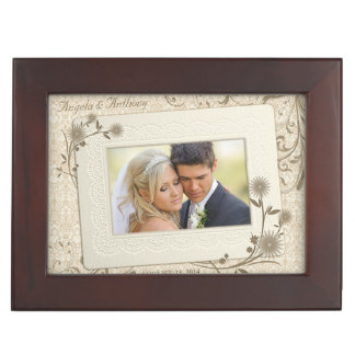 Vintage Lace Floral Wedding Photo Keepsake Keepsake Box