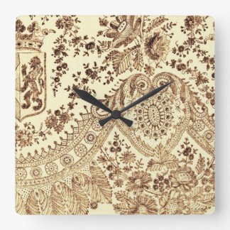 Vintage Lace In Brown Square Wall Clock