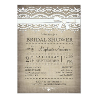 "Vintage Lace & Linen Rustic Country Bridal Shower 5"" X 7"" Invitation Card"