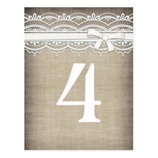 Vintage Lace & Linen Rustic Elegance Table Number Postcard