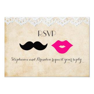"Vintage Lace Lips & Stache RSVP 3.5"" X 5"" Invitation Card"