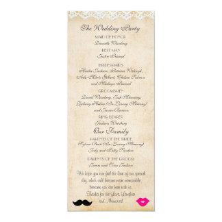 "Vintage Lace Lips & Stache Wedding Program 4"" X 9.25"" Invitation Card"