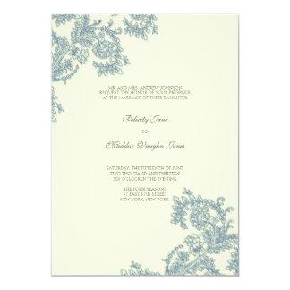 "Vintage Lace   Monaco Blue   Wedding Invitation 5"" X 7"" Invitation Card"
