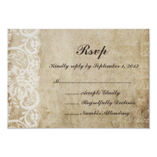 "Vintage Lace Old World RSVP Card 3.5"" X 5"" Invitation Card"
