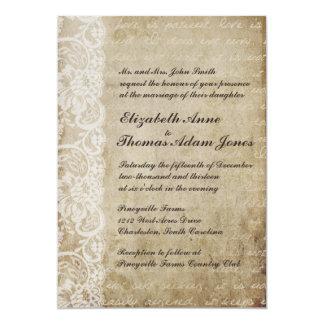 Vintage Lace Old World Wedding Invitation