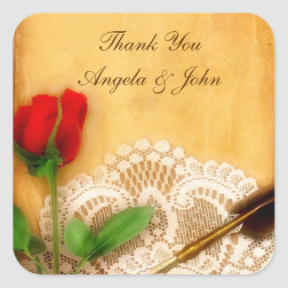 Vintage Lace, Red Rose, Parchment Sticker