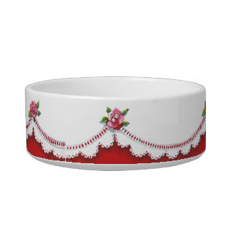 Vintage Lace Red Roses Bowl
