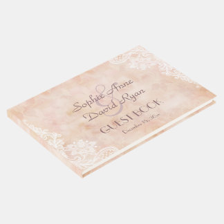 Vintage Lace Roses Old Paper Wedding Guest Book