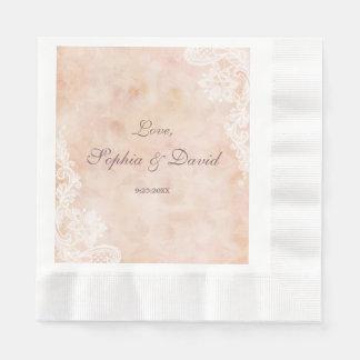 Vintage Lace Roses Old Paper Wedding Napkin