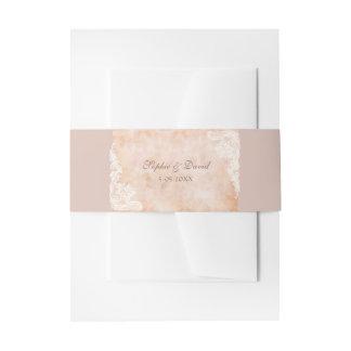 Vintage Lace Roses Old Paper WeddingWedding Invitation Belly Band