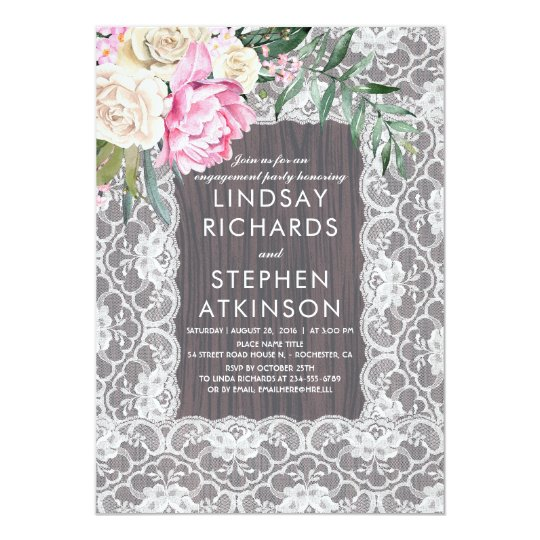 Vintage Lace Rustic Wood | Peony Engagement Party Card