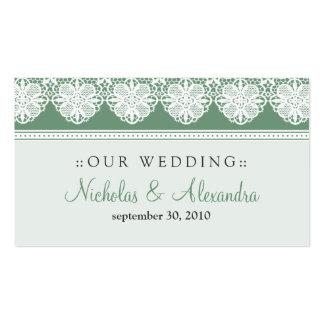 Vintage Lace Sage Green Wedding Website Card Business Cards