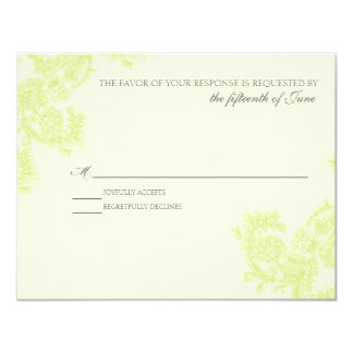"Vintage Lace | Spring Green | RSVP 4.25"" X 5.5"" Invitation Card"