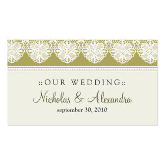Vintage Lace Taupe Wedding Website Card Business Card