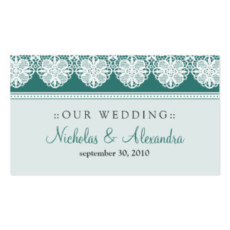 Vintage Lace Teal Wedding Website Card Business Card Template