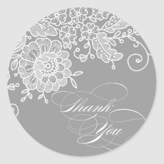Vintage Lace Thank you Classic Round Sticker