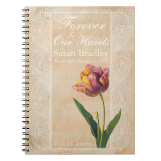 Vintage Lace Tulips Forever Funeral Guest Book Note Books
